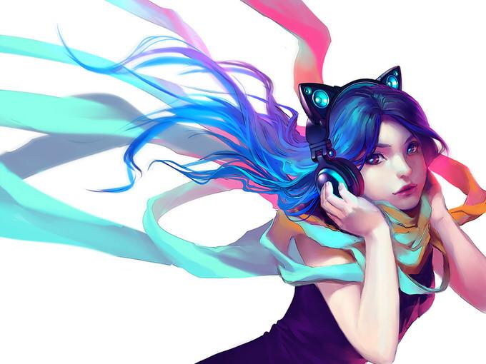 ヘッドホン女子 猫耳型ヘッドホン